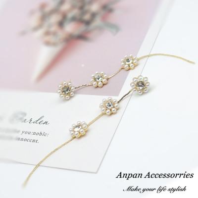 【ANPAN愛扮】韓東大門優雅盛開垂墜花朵925銀針耳釘式耳環