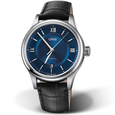 Oris豪利時CLASSIC日期機械錶(0173377194075-0752035)-藍