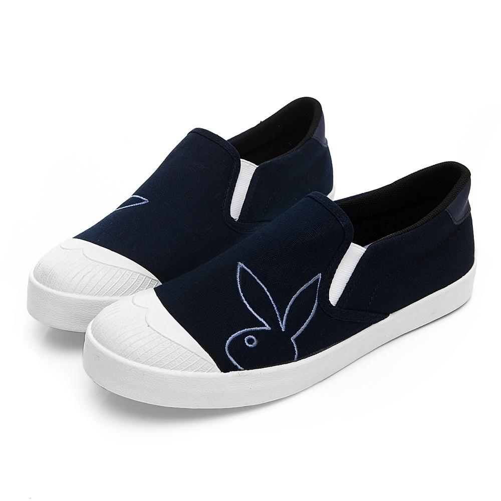 PLAYBOY 清新電繡兔頭懶人鞋-深藍-Y7201FF