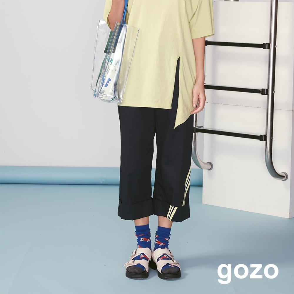 gozo 撞色線條印花反摺七分褲(深藍)