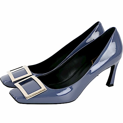Roger Vivier Trompette 經典方框漆皮高跟鞋(薄霧藍)