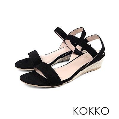 KOKKO - 歐膩時尚羊麂皮後帶楔型涼鞋 - 濃情黑