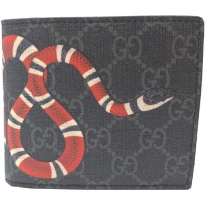 GUCCI 經典雙GG Supreme蛇型圖騰印花摺疊短夾(黑色)