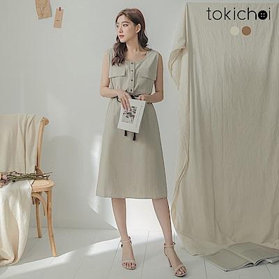 東京著衣 日系溫柔簡約排扣無袖洋裝-S.M.L(共兩色)