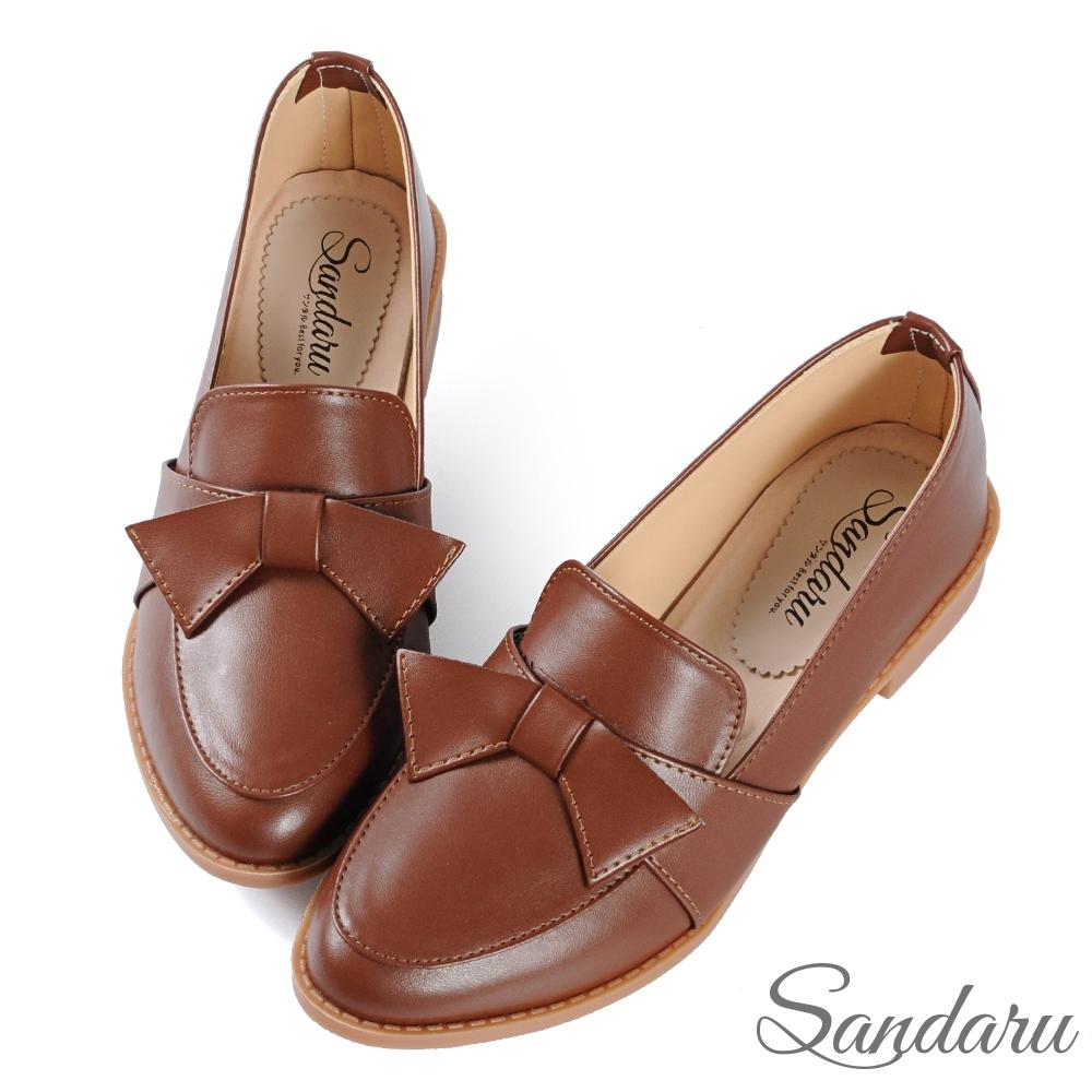 山打努SANDARU-小皮鞋 日系可愛蝶結尖頭低跟鞋-棕