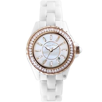 RELAX TIME 經典陶瓷系列水晶手錶-玫瑰金(RT-93-1)