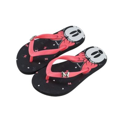 迪士尼親子鞋  米妮  造型海灘大人夾腳拖鞋-黑桃