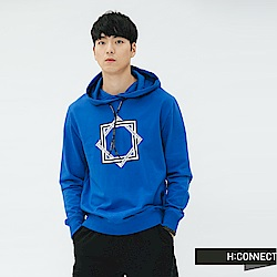 H:CONNECT 韓國品牌 男裝-抽繩印字圖樣帽T-藍