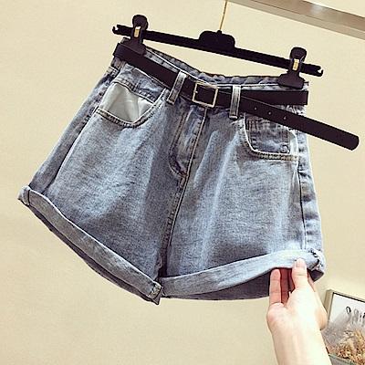 初色  時尚捲邊牛仔短褲-共2色-(M-XL可選)
