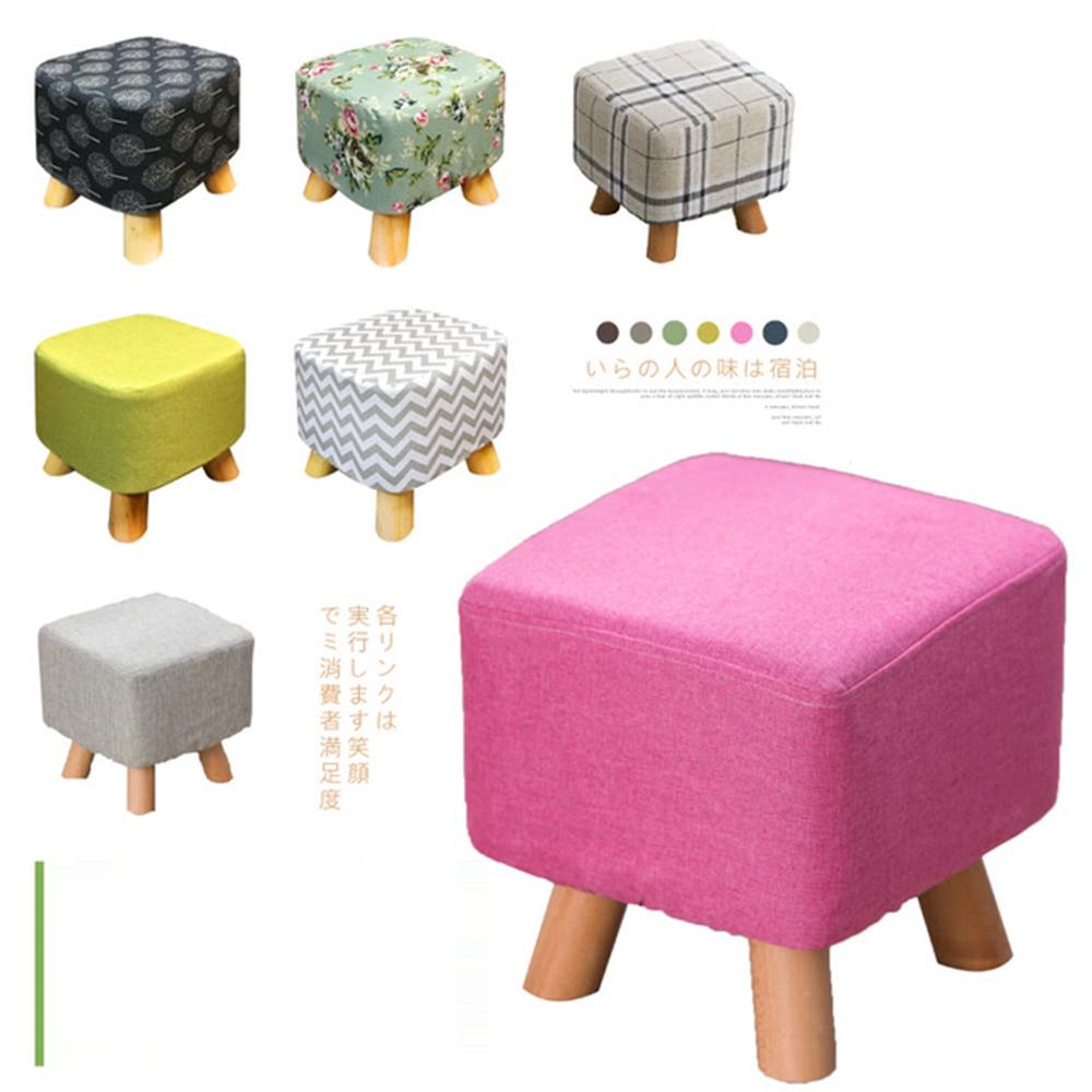 【日居良品】亞麻布實木椅腳方型椅凳(亞麻布可拆洗 / 四腳更平穩)