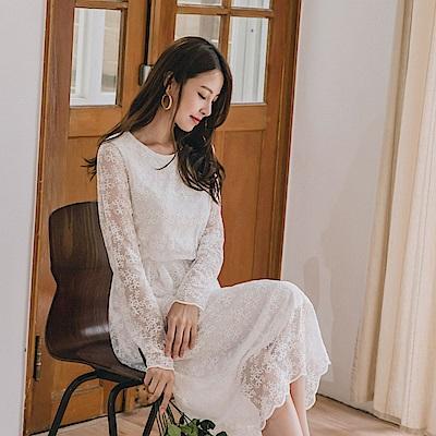 優雅蕾絲雕花微透膚長洋裝-OB大尺碼