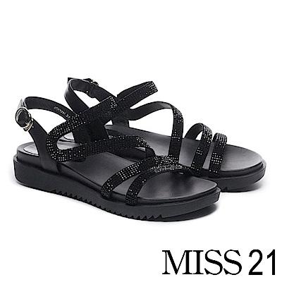 涼鞋 MISS 21 低調奢華燙鑽繫帶異材質拼接厚底涼鞋-黑