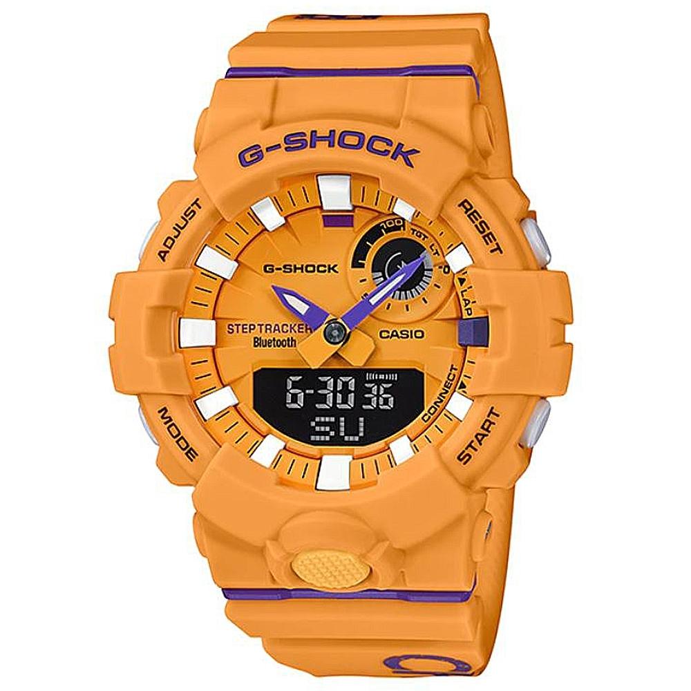 G-SHOCK 百搭玩色運動計步藍芽雙顯錶(GBA-800DG-9A)黃X紫/54.1mm