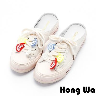 Hong Wa 繽紛設計2WAY綁帶牛皮休閒鞋 - 米