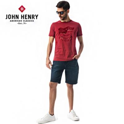 【JOHN HENRY】航海旗幟印花短袖T恤-紅