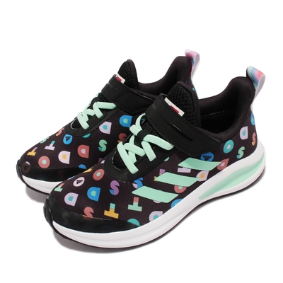 adidas 慢跑鞋 FortaRun LEGO Dots 童鞋 愛迪達 樂高 聯名 魔鬼氈 運動穿搭 中童 黑彩 FZ0399