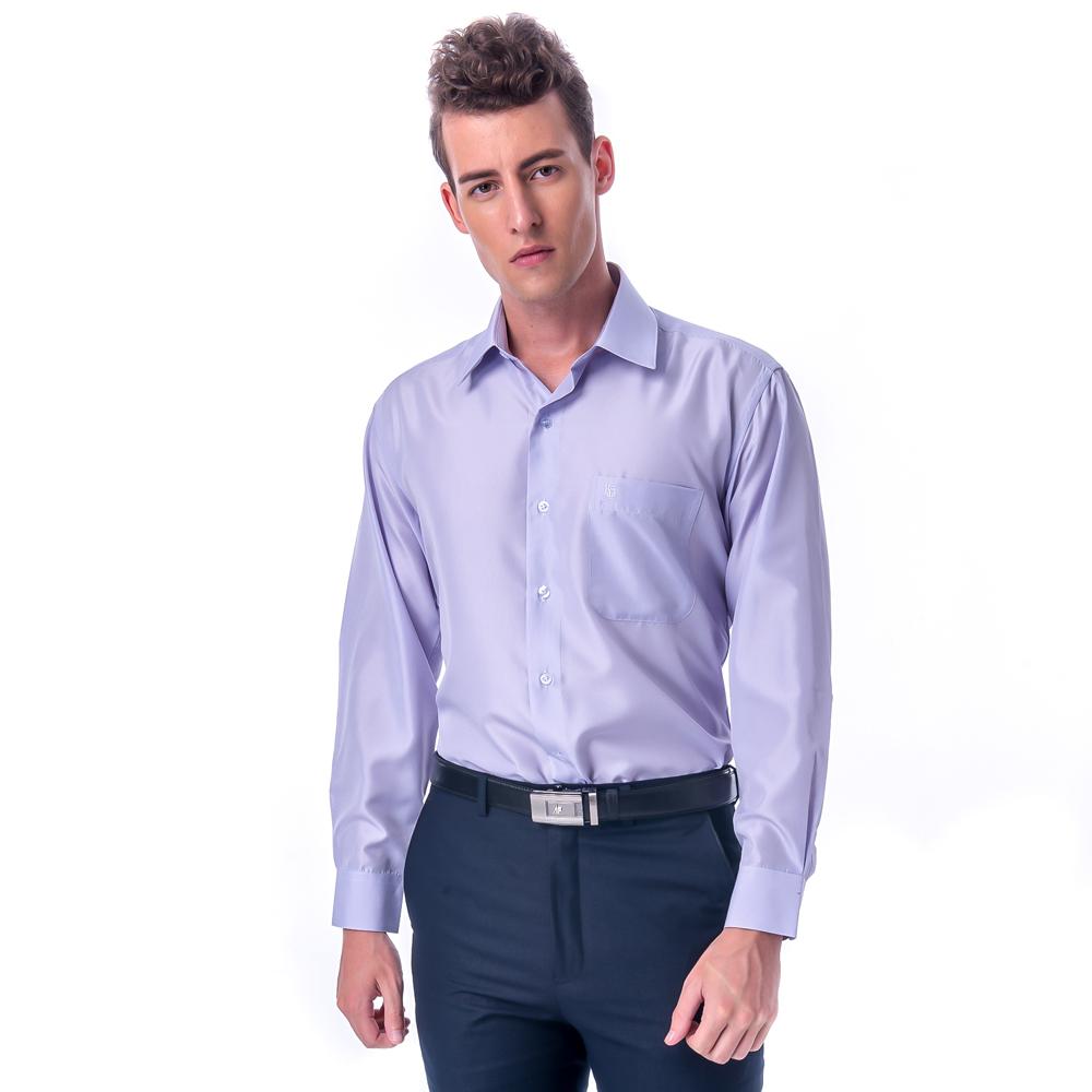 金‧安德森 紫色黑細線吸排長袖襯衫