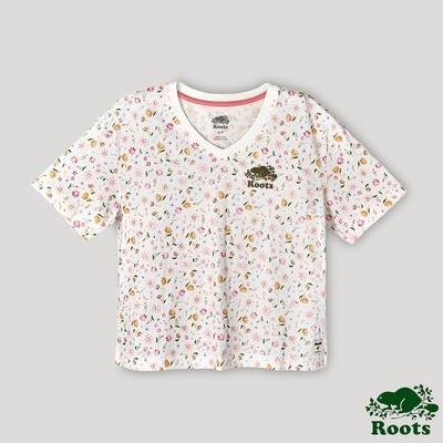 Roots 女裝- 湖畔小木屋系列 印花寬短版短袖T恤-拚色