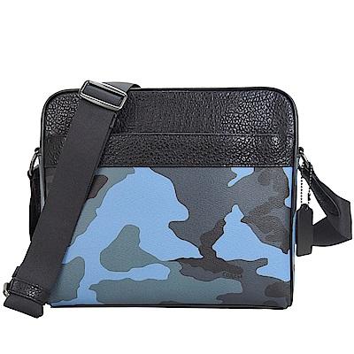 COACH新款男用迷彩拉鍊皮革斜背包(藍)