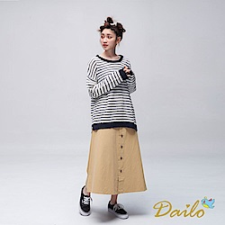 Dailo INLook排釦A字長裙(卡)