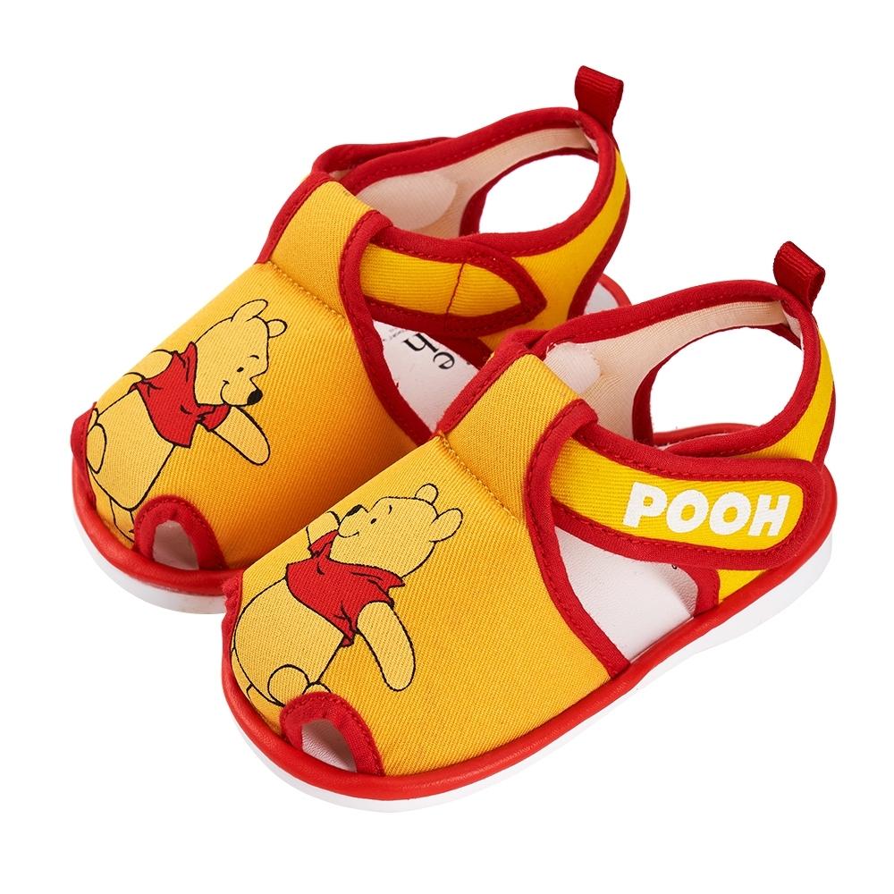 迪士尼童鞋 小熊維尼 經典造型護趾嗶嗶涼鞋-黃(柏睿鞋業)