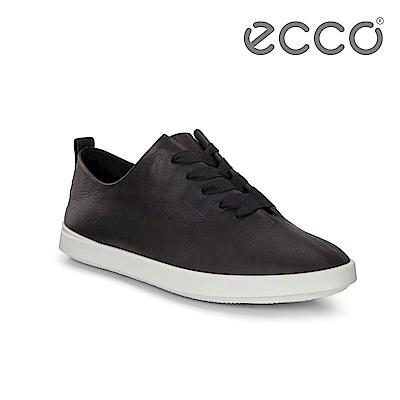 ECCO LEISURE 超柔軟牛皮緞帶休閒鞋 女-黑
