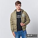 JEEP 型男羽絨短版連帽外套-橄欖綠