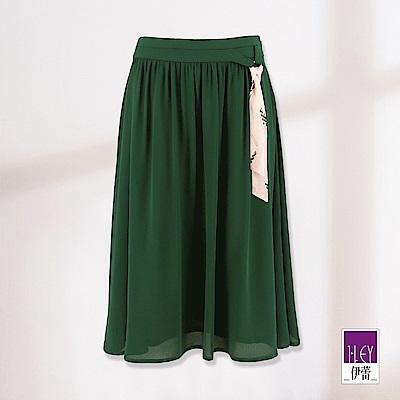 ILEY伊蕾 絲巾造型打摺裙(綠)