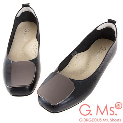 G.Ms. MIT系列-牛皮金屬方釦方頭娃娃鞋-黑色