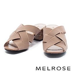 拖鞋 MELROSE 簡約編織交叉鬆緊帶粗跟拖鞋-米