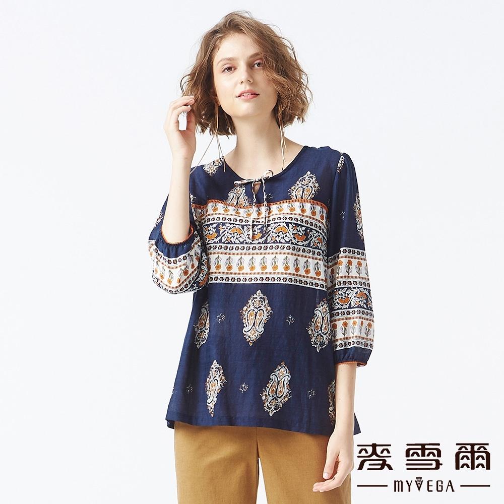 MYVEGA麥雪爾 含棉民族風七分袖造型上衣-深藍