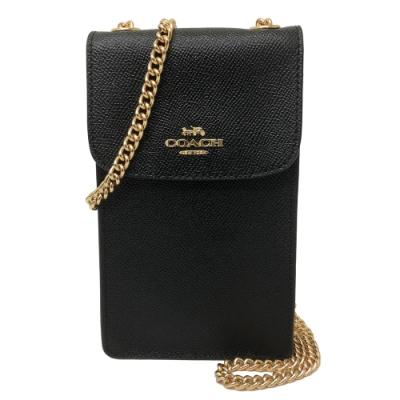 COACH 經典LOGO 防刮牛皮證件卡片手機斜背包(黑)