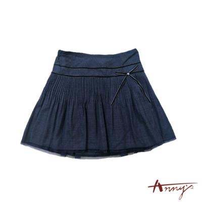Annys超人氣氣質可愛蝴蝶結網紗下擺小百褶短裙*4257藍