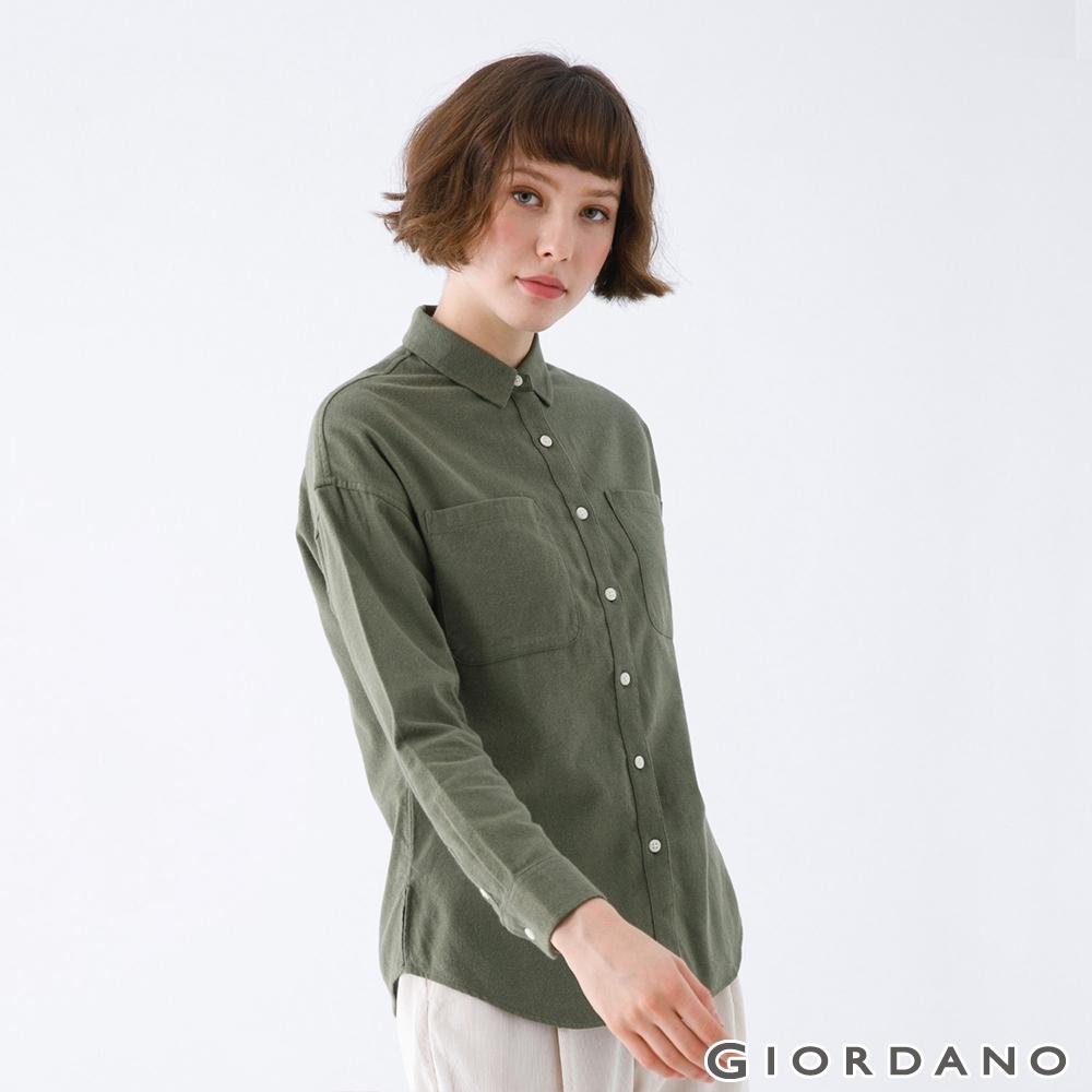 GIORDANO   女裝法蘭絨磨毛長袖襯衫 - 54 墨綠