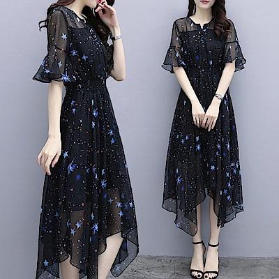 中大尺碼荷葉袖鈕釦縮腰星星印花雪紡不規則裙擺洋裝XL~4L-Ballet Dolly