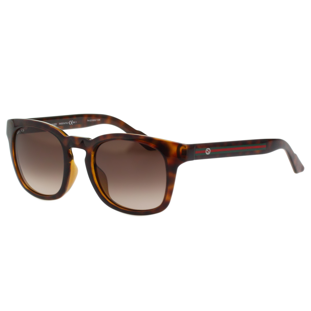 GUCCI- 紅綠腳 復古感方框 太陽眼鏡 (琥珀色)