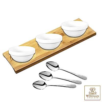 英國WILMAX多用途竹製杯墊置物盤點心盤附醬料碟茶匙組