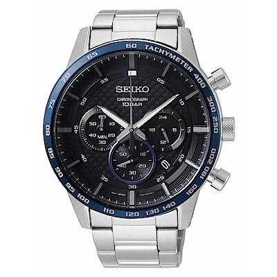SEIKO精工 沉穩風格三眼計時腕錶8T63-00L0D(SSB357P1)