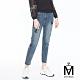 麥雪爾 MA高含棉小串珠印花九分牛仔褲-藍 product thumbnail 1