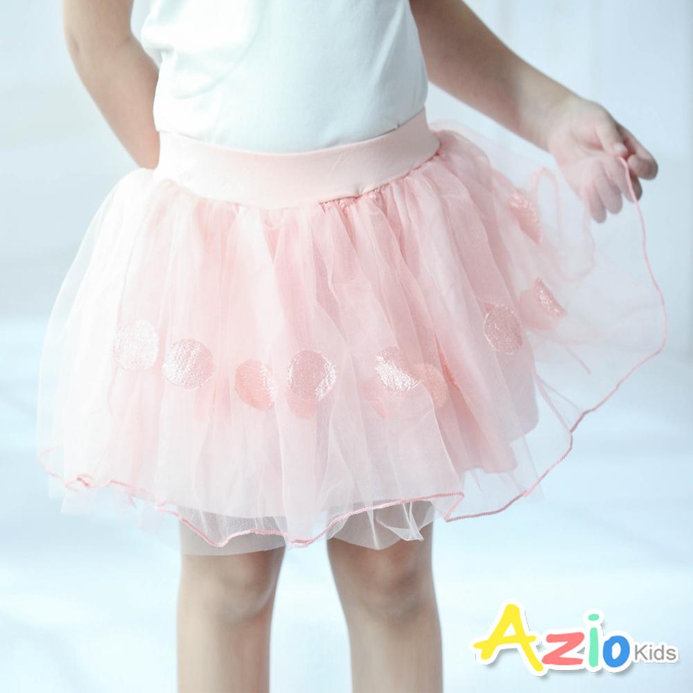 Azio Kids 短裙 圓點刺繡網紗鬆緊澎澎短裙(粉)
