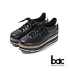 bac加州陽光-多層厚底台運動風綁帶休閒鞋-黑