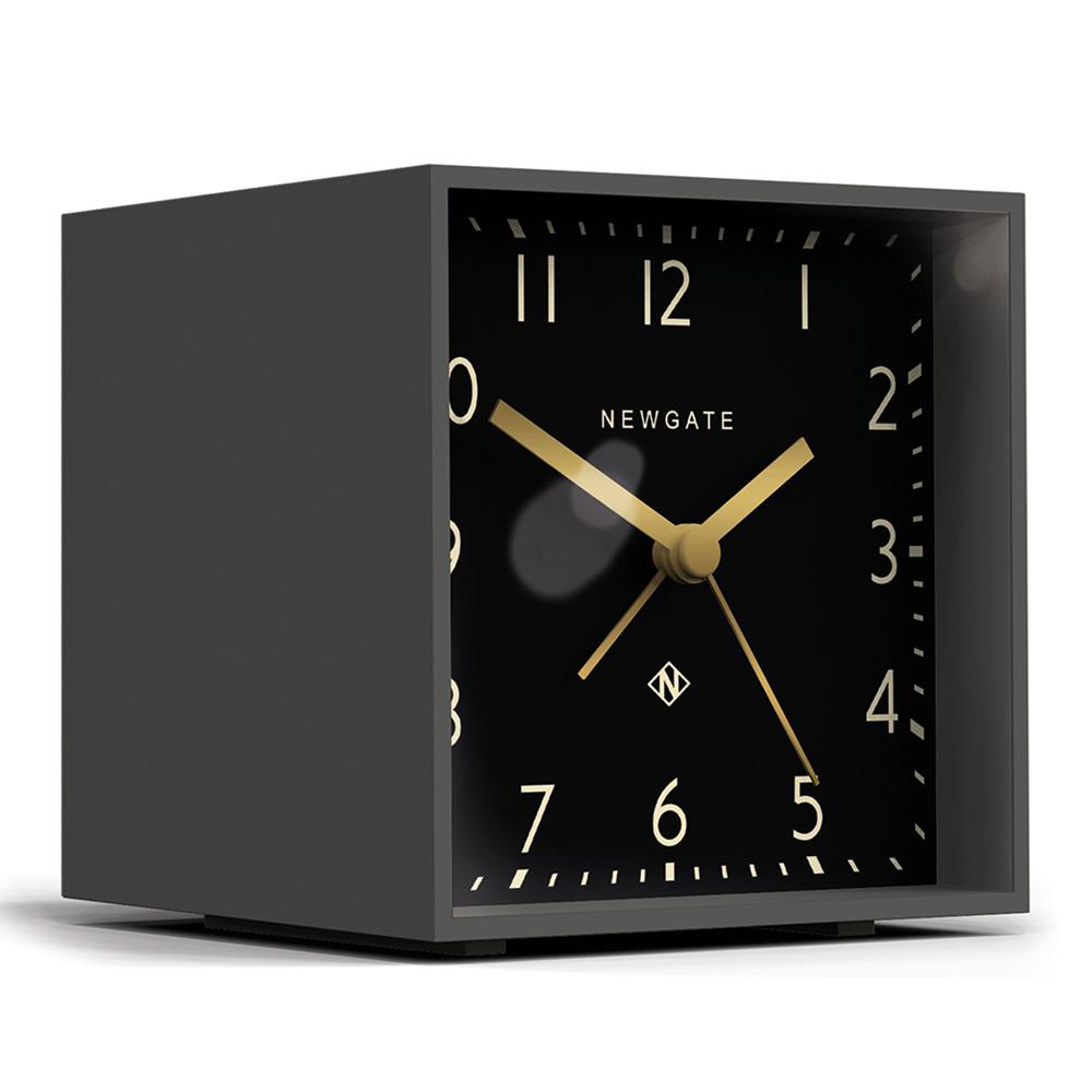Newgate 英倫風格桌鐘-摩登方塊-紳士黑-11cm x 10cm