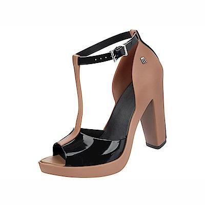 MELISSA 雙色T字踝帶高跟鞋-焦糖/黑