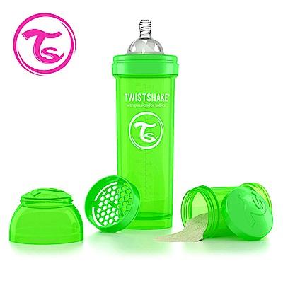 Twistshake 瑞典時尚 彩虹奶瓶/防脹氣奶瓶330ml/奶嘴口徑1mm-蘋果綠