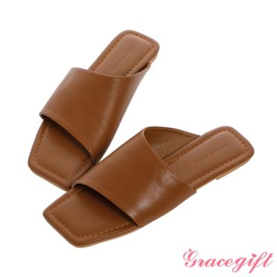 Grace gift-斜方頭寬帶平底涼拖鞋 棕