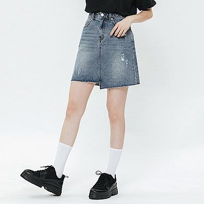 H:CONNECT 韓國品牌 女裝-不對稱拼接口袋牛仔裙-藍