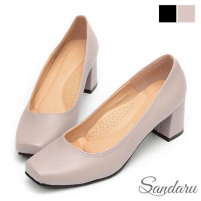 山打努SANDARU-方頭鞋 素雅軟底好走中跟鞋-芋