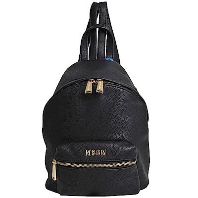 MSGM 品牌金色LOGO字母荔枝壓紋後背包(黑)