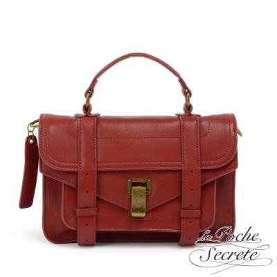 La Poche Secrete側背包 簡約羊皮仿舊金屬釦手提斜側背包-魅力紅
