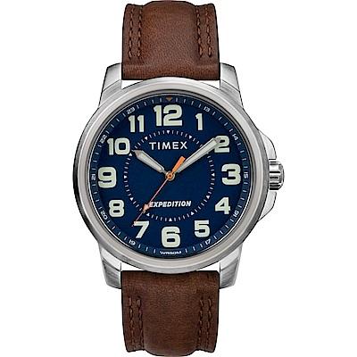 TIMEX 天美時 遠征系列 探險手錶-藍x咖啡色錶帶/40mm